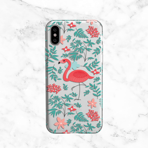 Tropical Flamingo - Clear TPU Phone Case Cover