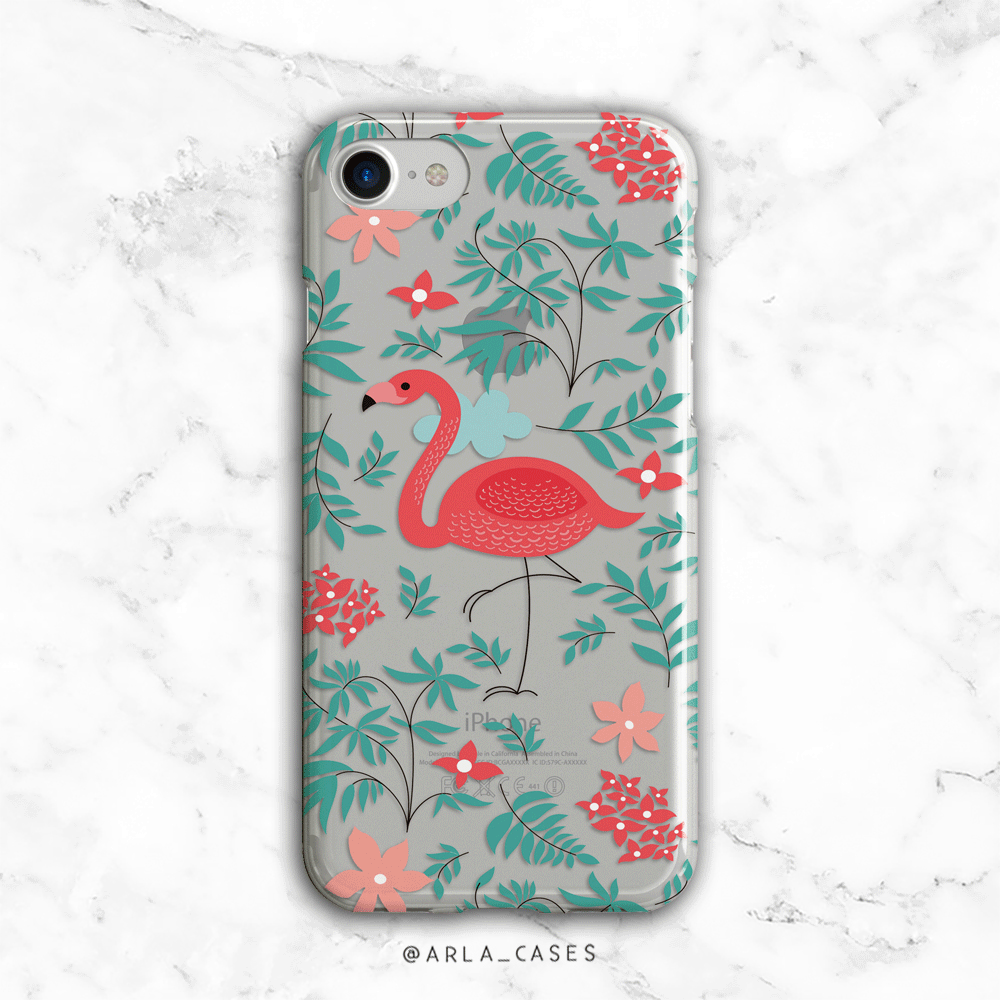 Flamingo Clear iPhone and Galaxy Phone Case