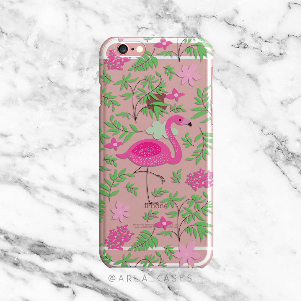 Floral Flamingo on Clear Printed iPhone Case