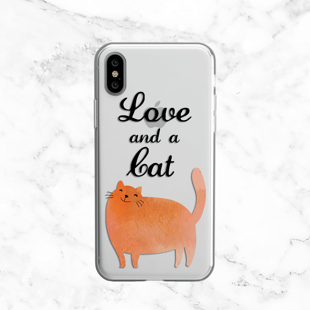 Love and a Cat - Clear TPU Phone Case
