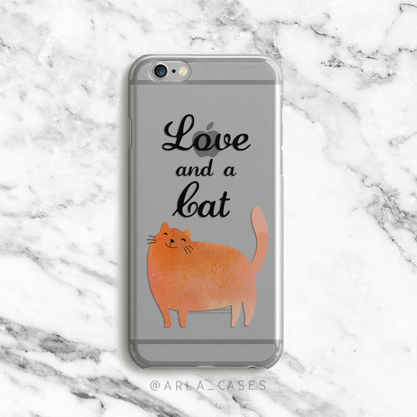 Love and a Cat on Clear Printed iPhone Case