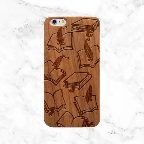 Books and Feathers Wood Phone Case