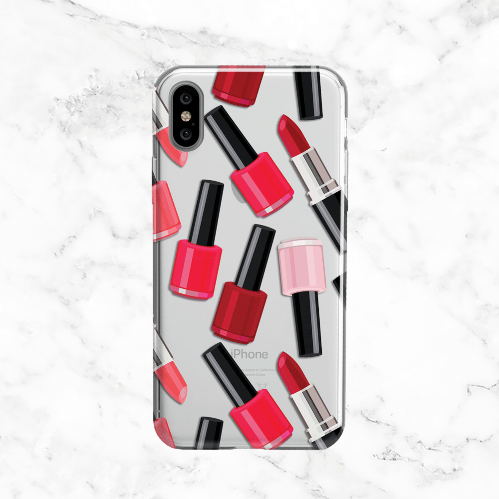 Lipstick and Nail Polish - Clear TPU iPhone and Galaxy Case
