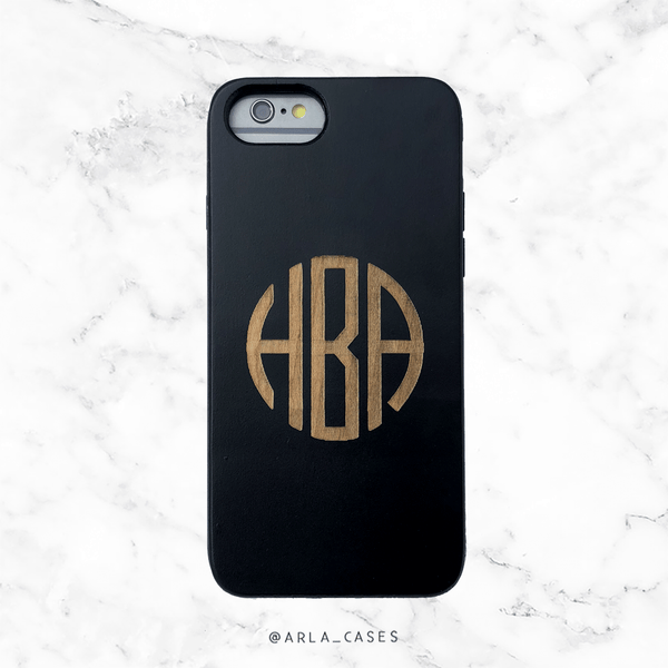 Custom Classic Monogram Wood Phone Case