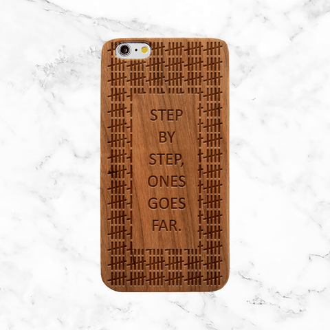Step By Step One Goes Far Engraved Wood Phone Case