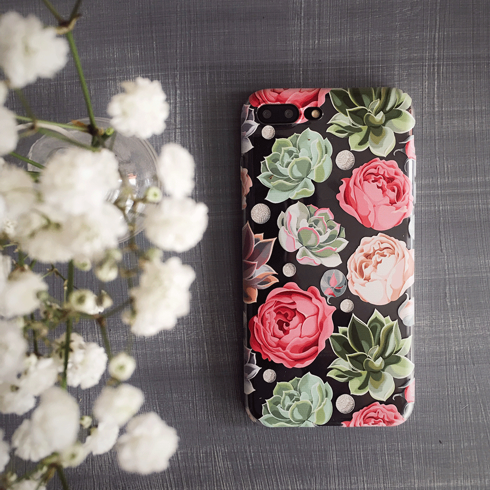Pastel Flowers and Succulents - Clear TPU Phone Case Cover