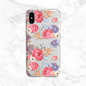Floral and Succulent Bouquet - Clear TPU Phone Case Cover