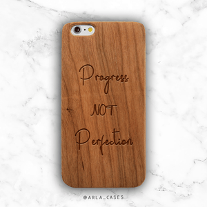Progress Not Perfection Wood iPhone Case