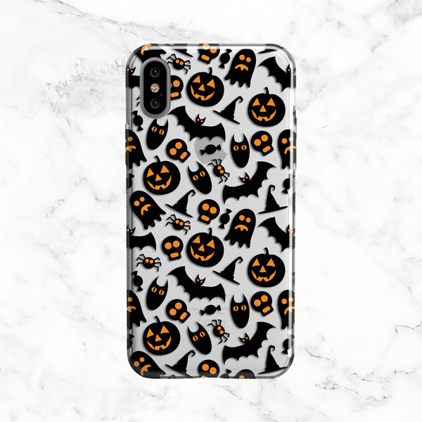 Halloween Ghosts and Pumpkins Phone Case - Clear TPU Phone Case