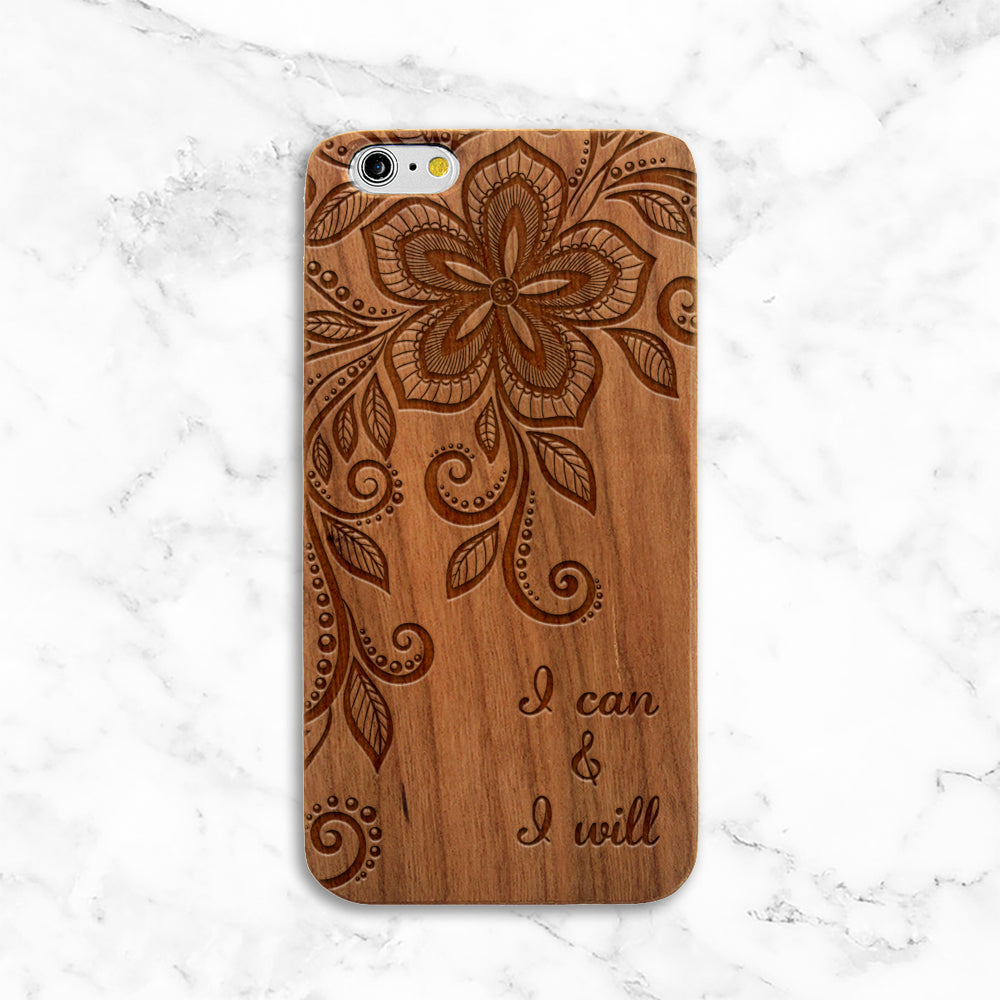 I can & I will wood iPhone Case