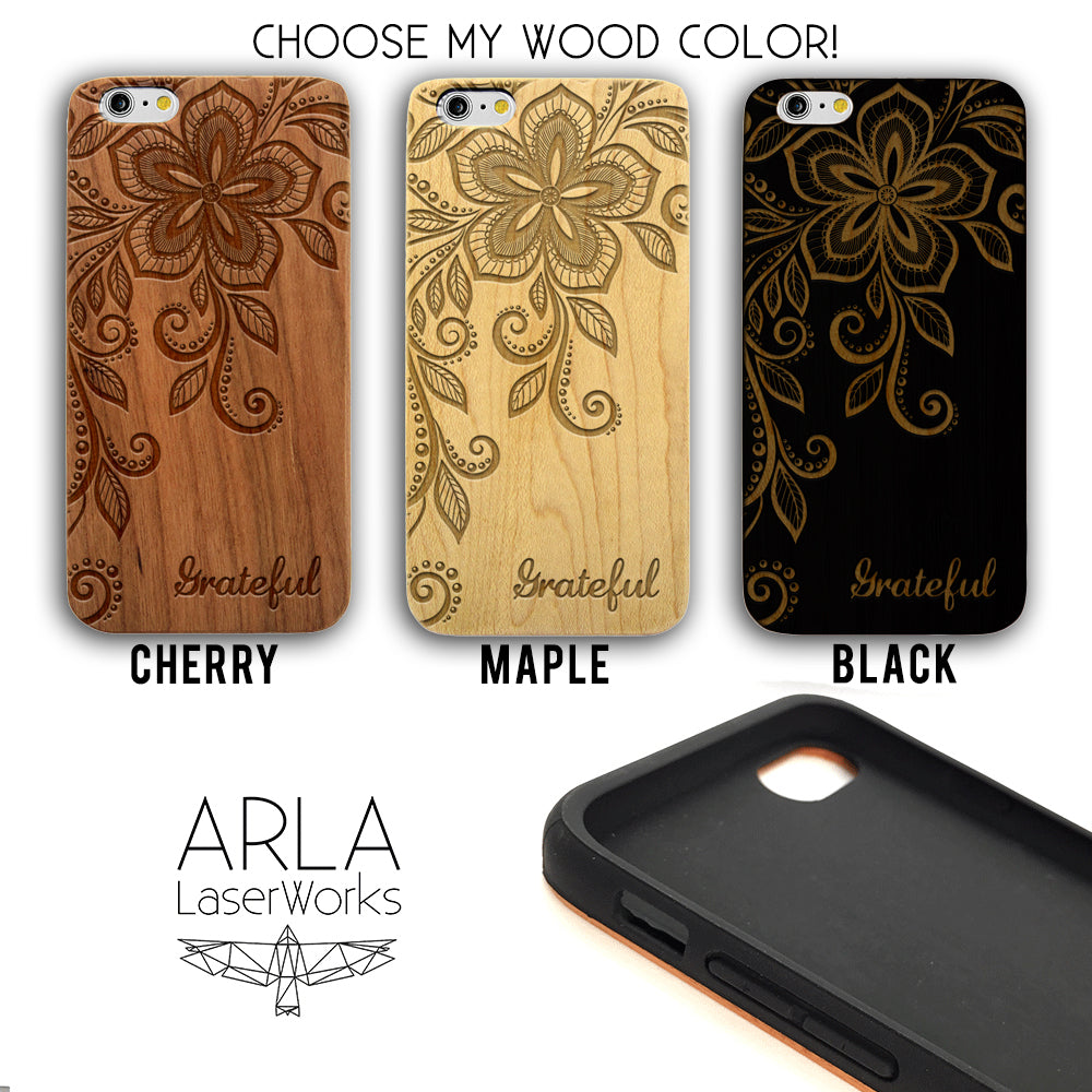 Floral Grateful -  Wood iPhone and Galaxy Case