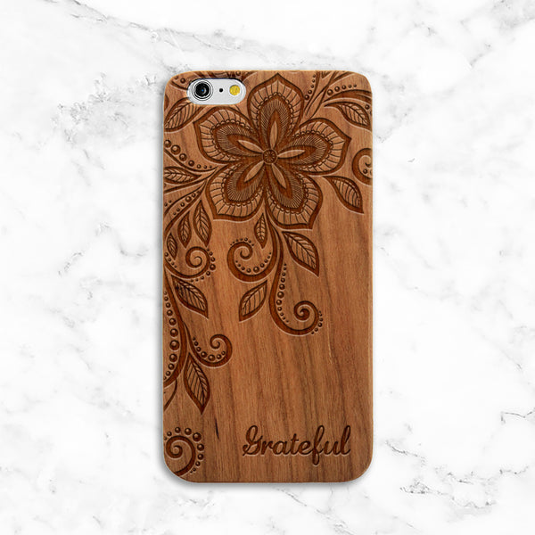 Floral Grateful Wood iPhone Case