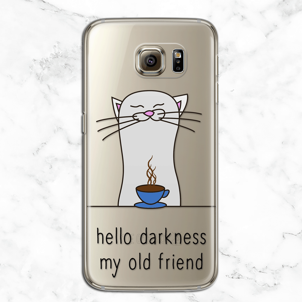 Hello Darkness My Old Friend - Funny Coffee Phone Case - Caffeine Lover Clear Printed TPU Phone Case