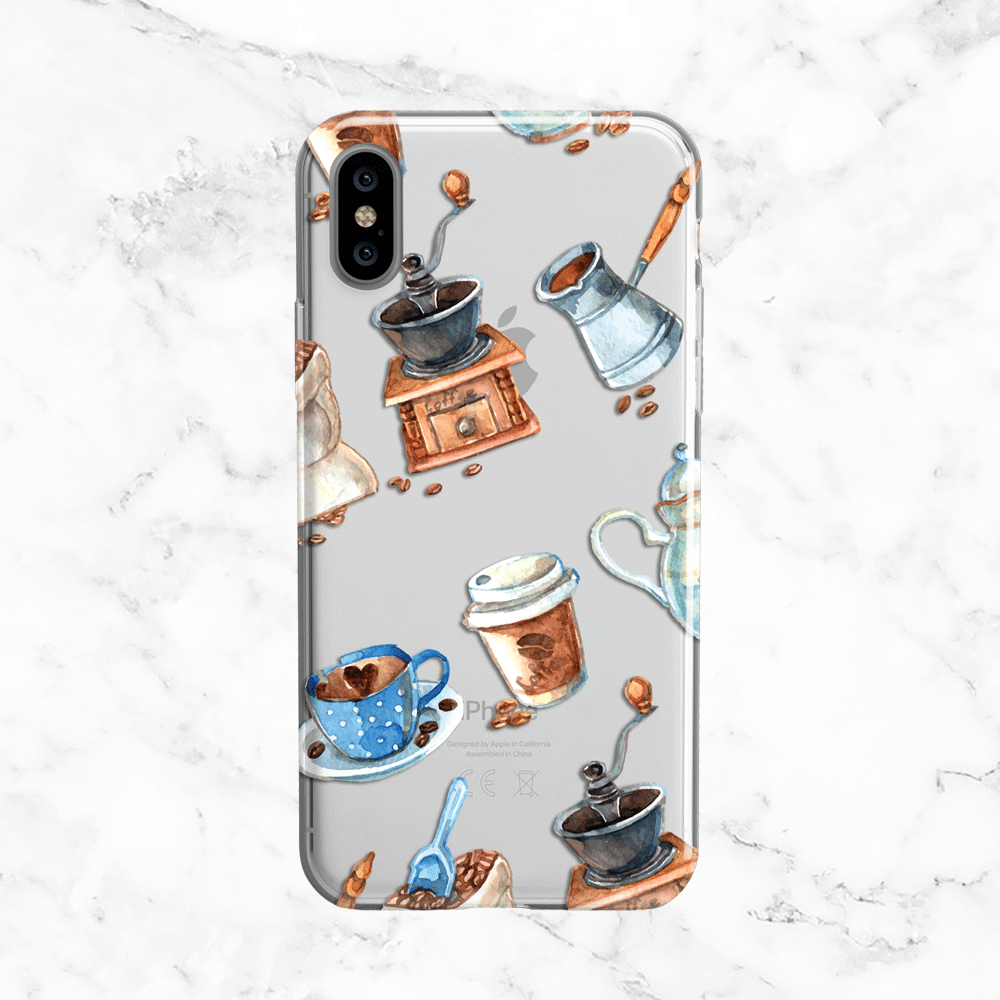 Watercolor Coffee - Coffee - Clear Printed TPU Phone Case