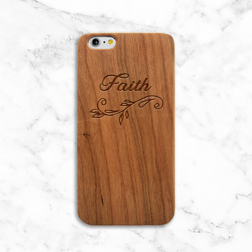 Faith Floral Wood iPhone Case