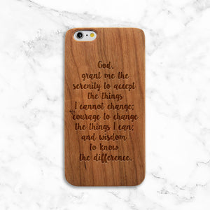 Serenity Prayer Wood iPhone Case