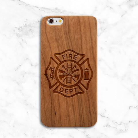 Fire Department Crest Wood Phone Case - Wood iPhone and Galaxy Case