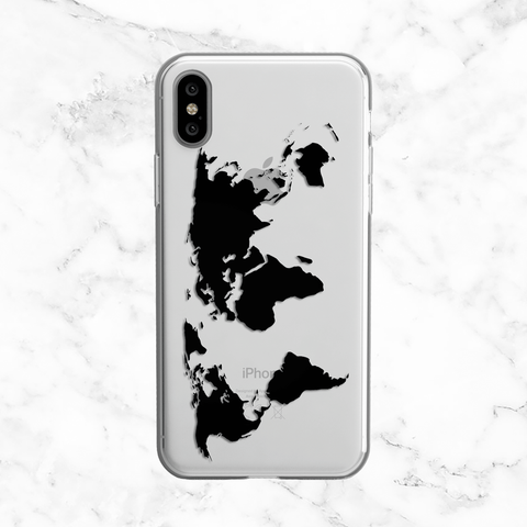 World Map Phone Case - Travel Themed - Clear TPU Phone Case