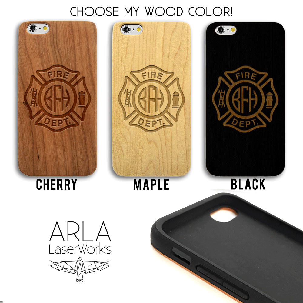 Custom Firefighter Crest Monogram Phone Case - Wood iPhone and Galaxy Case