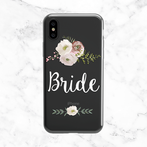 White Floral Bride Phone Case