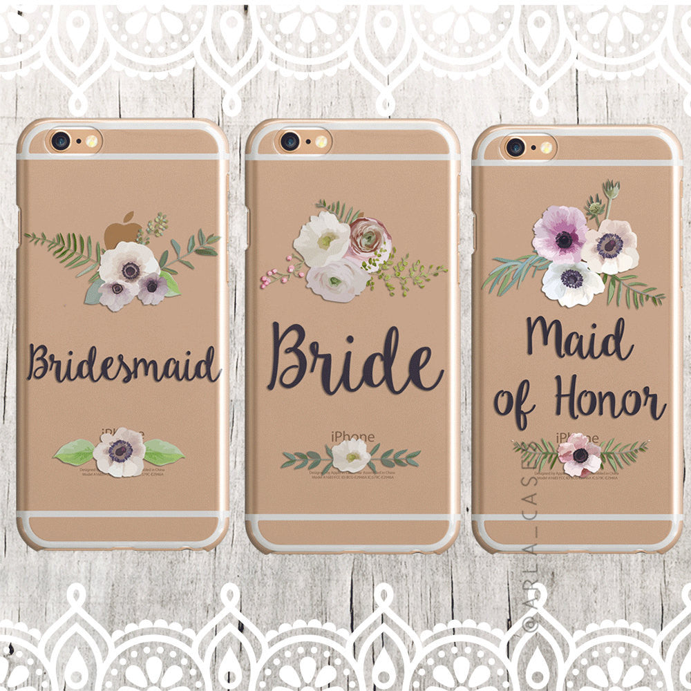 Bridesmaid Floral Wedding Phone Case - Clear Printed TPU