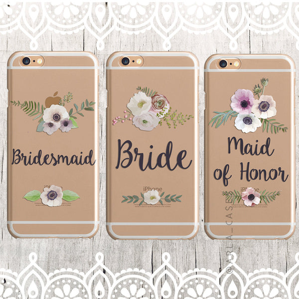 Maid of Honor White Floral Wedding Phone Case - Clear Printed TPU