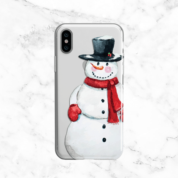 Christmas Snowman Phone Case - Clear TPU with Print