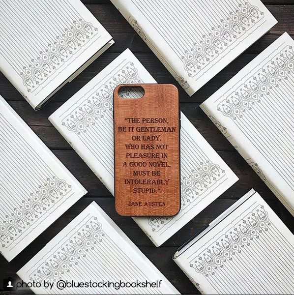Custom Literary Quote Wood Phone Case