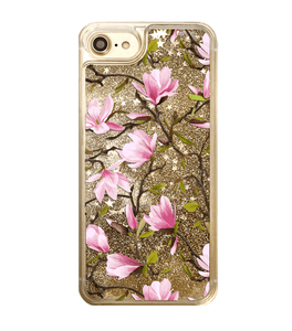 Gold Glitter Pink Magnolia Flowers iPhone Case