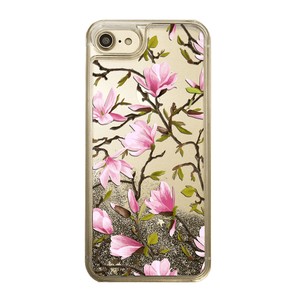 Pink Magnolia Flowers Gold Glitter Phone Case