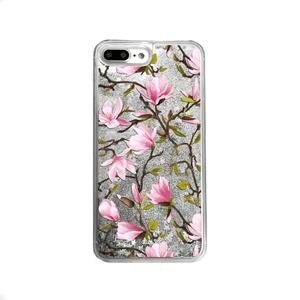 Silver Glitter Pink Magnolia Flowers iPhone Case