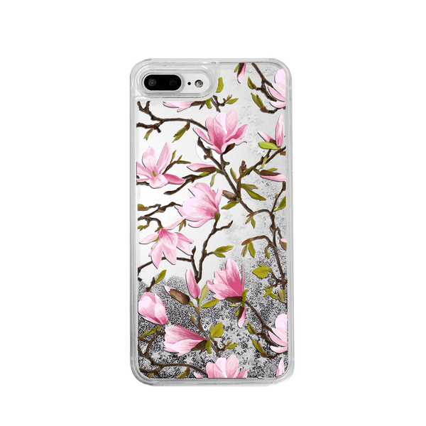 Pink Magnolia Flowers Silver Glitter Phone Case