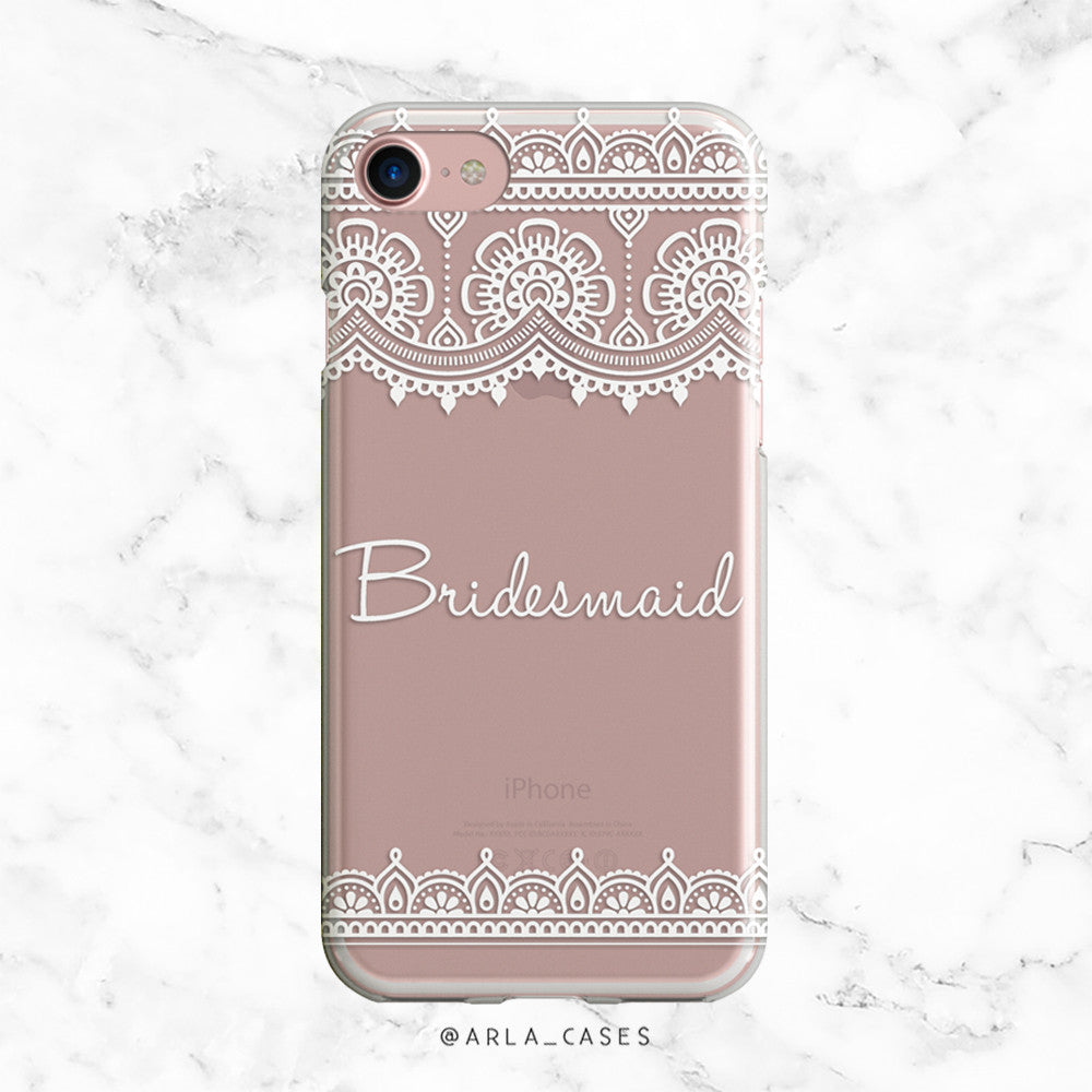 White Lace Bridesmaid iPhone Case