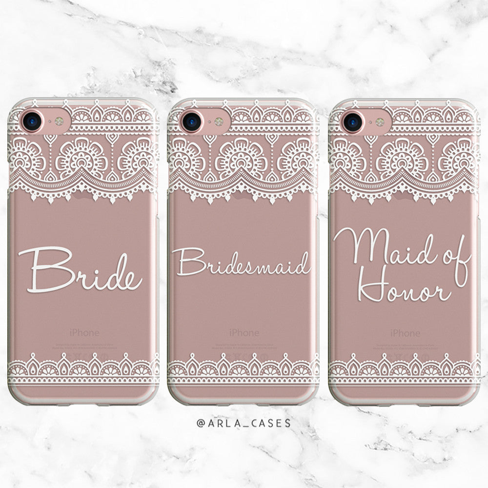 White Lace Bridesmaid Wedding Phone Case - Clear Printed TPU