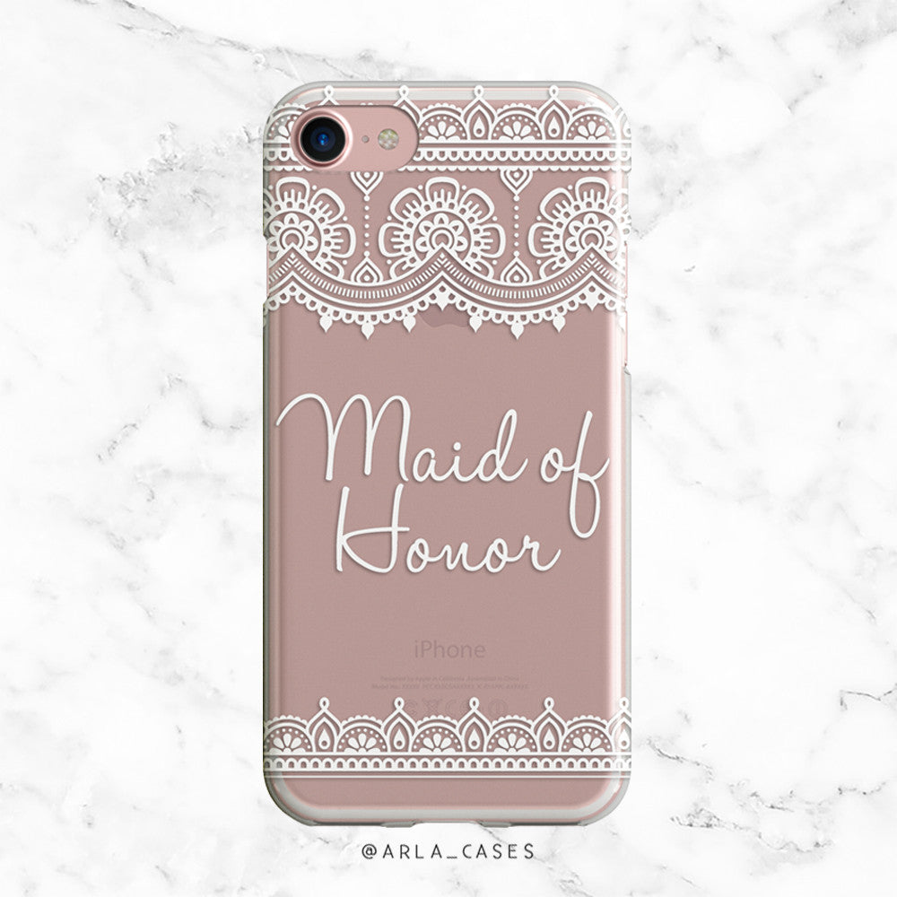 White Lace Maid of Honor iPhone Case