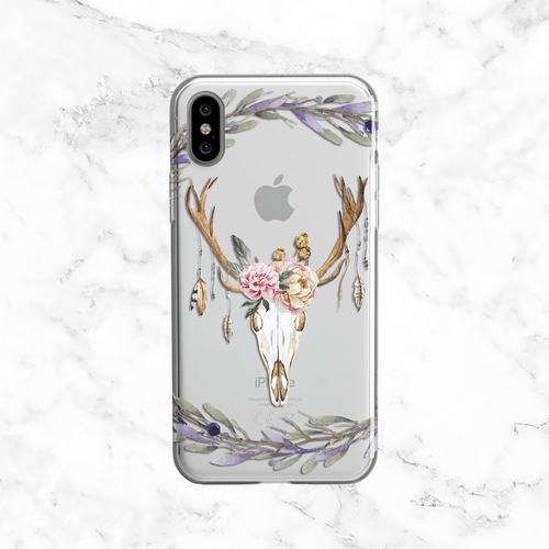 Watercolor Floral Deer Skull- Clear Printed TPU Phone Case