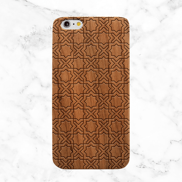Geometric Tile Pattern Wood Phone Case