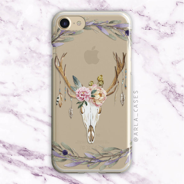 Floral Deer Skull iPhone Case
