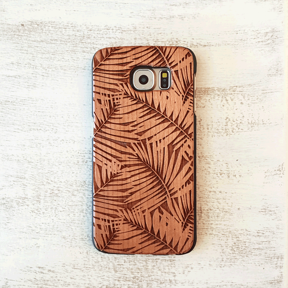 Palm Tree Leaves Wood Phone Case