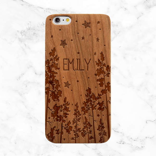 Custom Forest Night Wood Phone Case