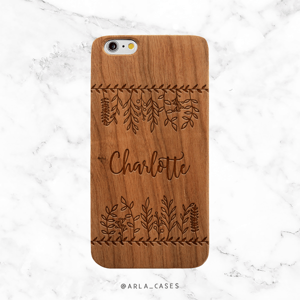 Custom Leaves with Text Wood iPhone Case
