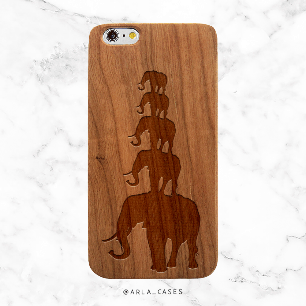 Custom Elephant Family Wood Phone Case