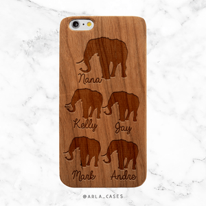 Custom Elephant Family with Names Wood Phone Case