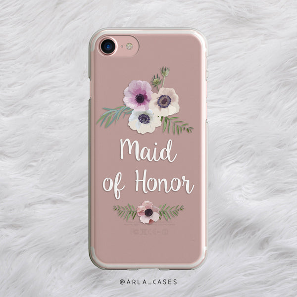 Floral Maid of Honor iPhone Case