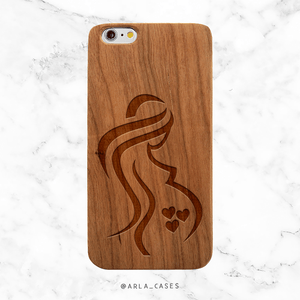 Mom of Triplets Wood Phone Case