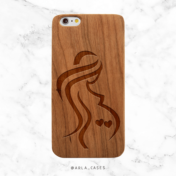 Mom of Twins Wood Phone Case