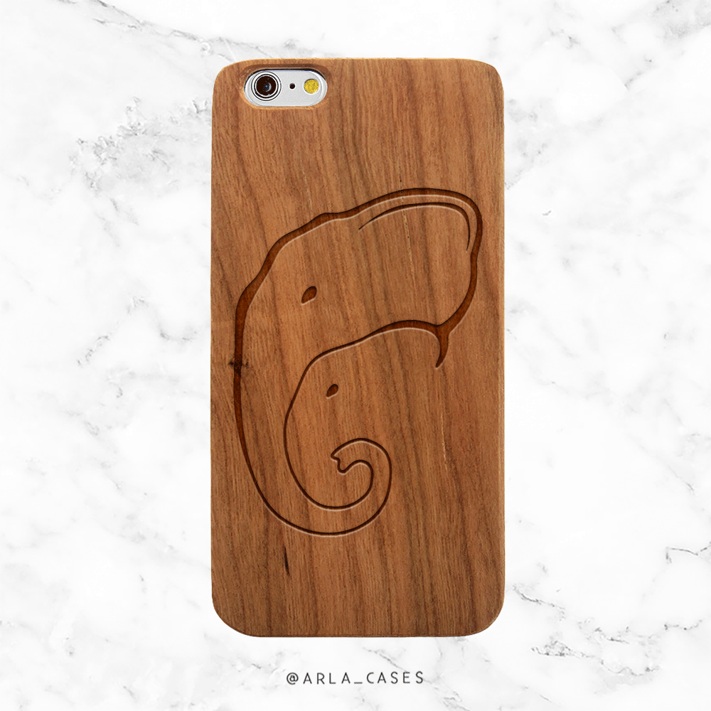 Elephant Mom and Baby Wood Phone Case