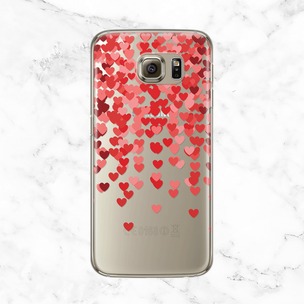 Confetti Hearts - Clear Phone Case