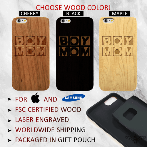Building Blocks Boy Mom Wood Phone Case