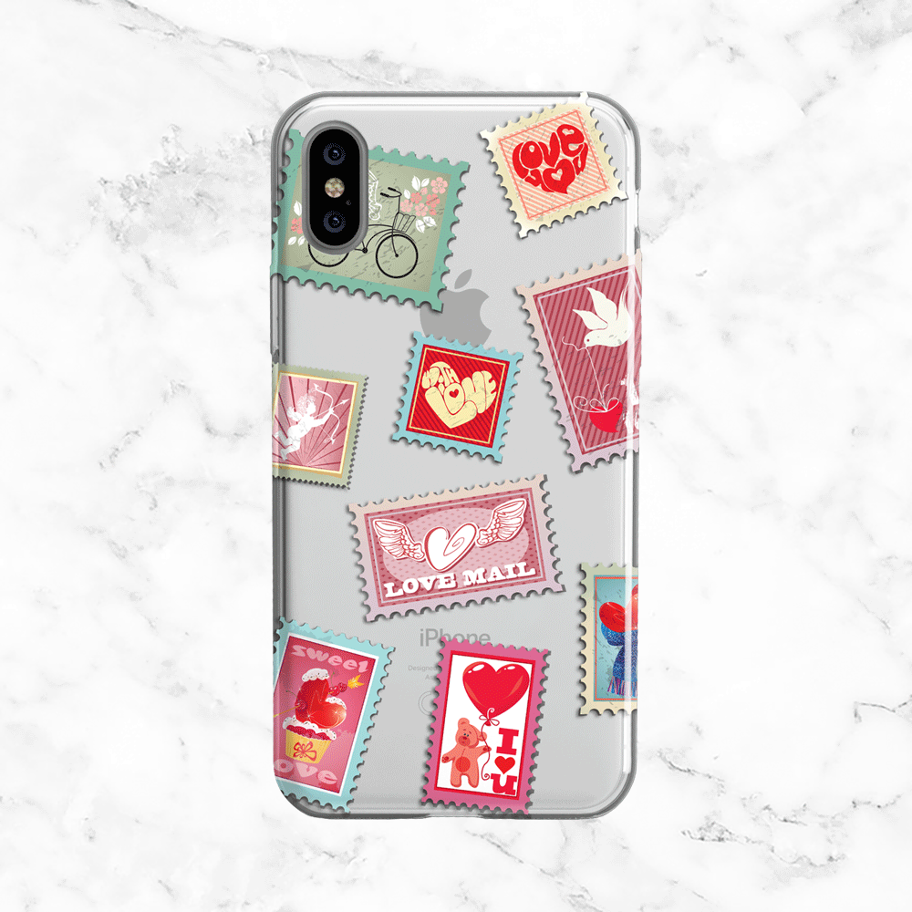 Valentine's Day Stamps - Clear Phone Case with Print